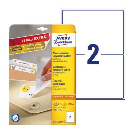 Etikett AVERY L4734REV-25 199,6x143,5mm univerzális visszaszedhető 60 címke/doboz 30 ív/doboz