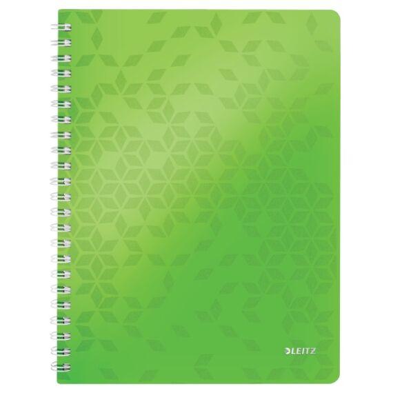 Spirálfüzet LEITZ Wow A/4 80 lapos kockás zöld