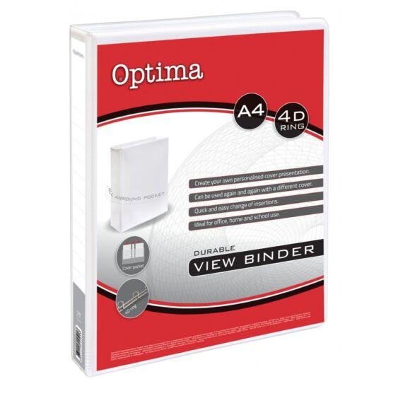 Gyűrűskönyv OPTIMA panorámás A/4 4gyűrű 25mm fehér