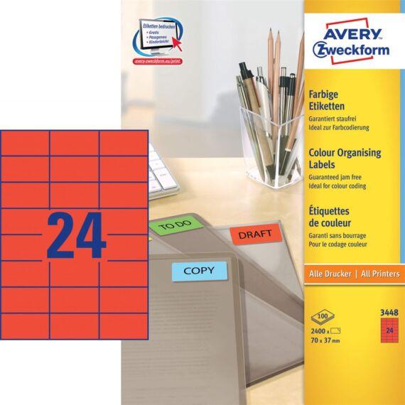 Etikett AVERY 3448 70x37mm univerzális piros 2400 címke/doboz 100 ív/doboz