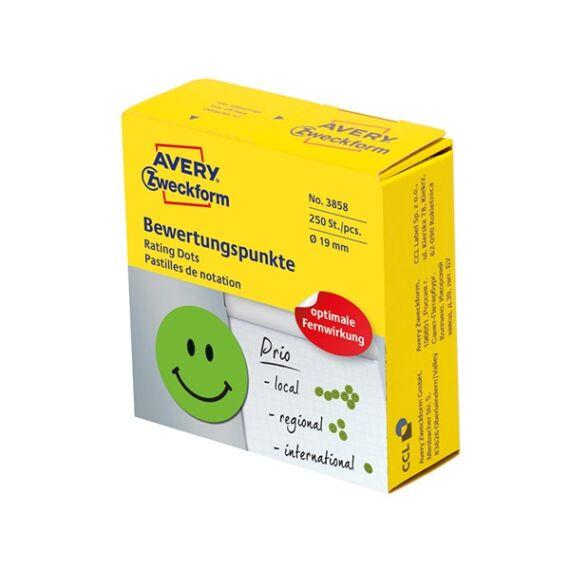 Etikett AVERY 3858 öntapadó jelölőpont adagoló dobozban mosolygós arc mintás zöld 19mm 250 jelölőpont/doboz