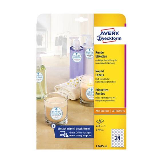 Etikett AVERY L3415-10 kör alakú 40 mm átmérő 240 címke/doboz 10 ív/doboz
