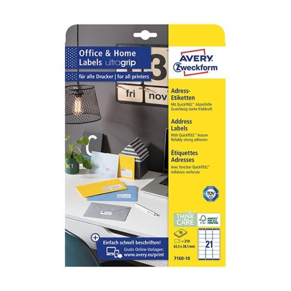 Etikett AVERY 7160-10 63,5x38,1mm 210 címke/doboz 10 ív/doboz