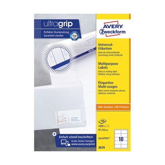 Etikett AVERY 3679 97x55 mm fehér univerzális 1000 címke/doboz 100 ív/doboz