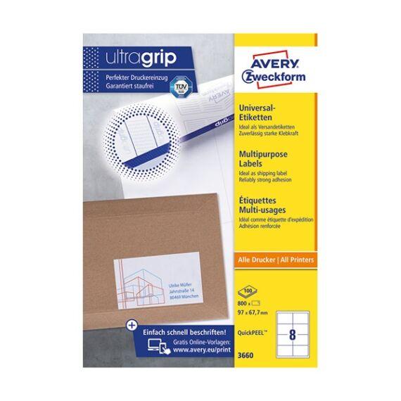 Etikett AVERY 3660 97x67,7 mm fehér univerzális 800 címke/doboz 100 ív/doboz