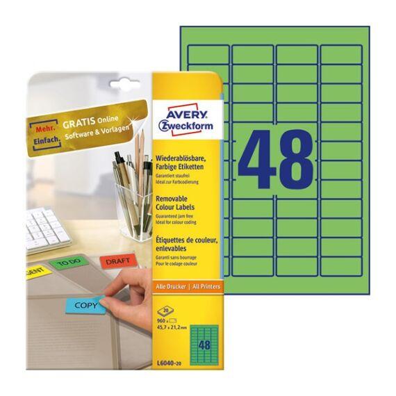Etikett AVERY L6040-20 45,7x21,2mm univerzális visszaszedhető zöld 960 címke/doboz 20 ív/doboz
