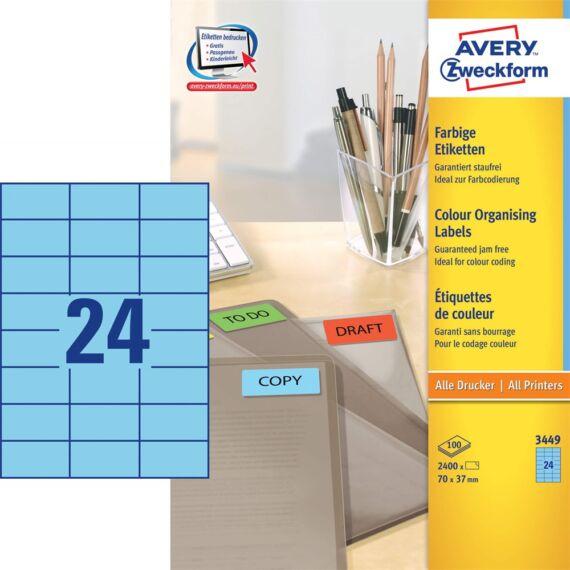 Etikett AVERY 3449 70x37mm univerzális kék 2400 címke/doboz 100 ív/doboz