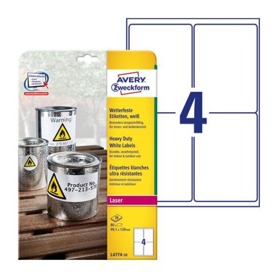 Etikett AVERY L4774-20 99,1x139mm időjárásálló poliészter fehér 80 címke/doboz 20 ív/doboz
