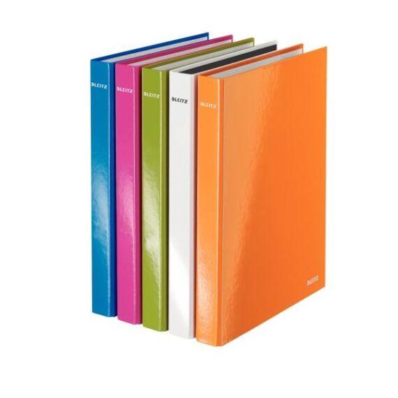 Gyűrűskönyv LEITZ A/4 metálfényű 4 gyűrű narancs
