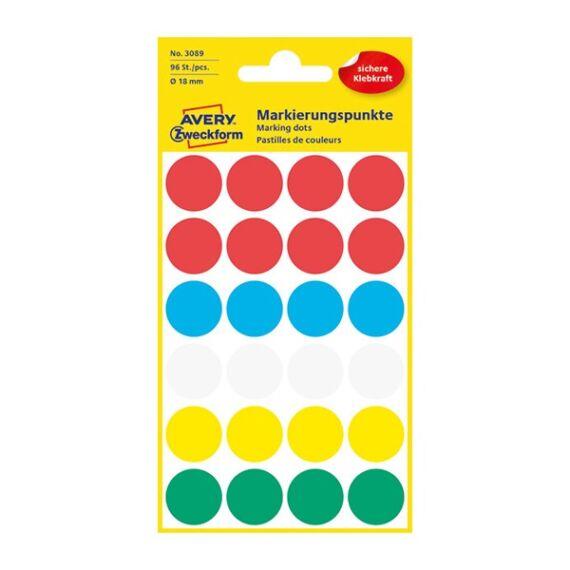 Etikett AVERY 3089 öntapadó jelölőpont vegyes 5 szín 18 mm 96 jelölőpont/csomag