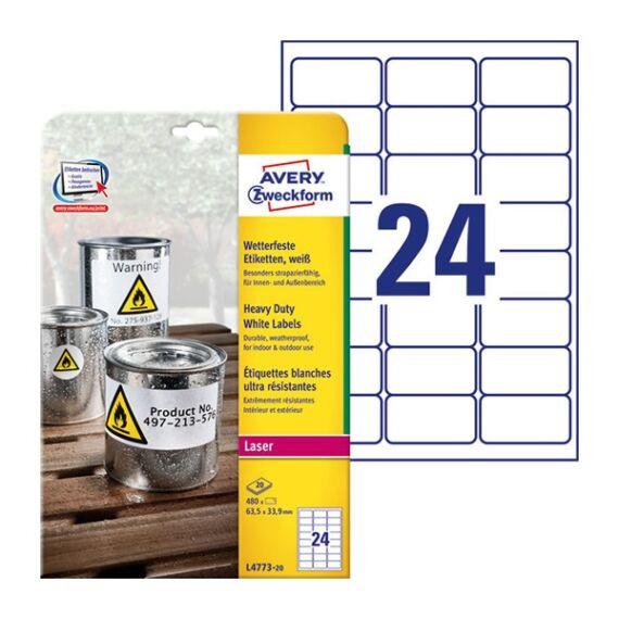 Etikett AVERY L4773-20 63,5x33,9mm laser 480 címke/doboz 20 ív/doboz