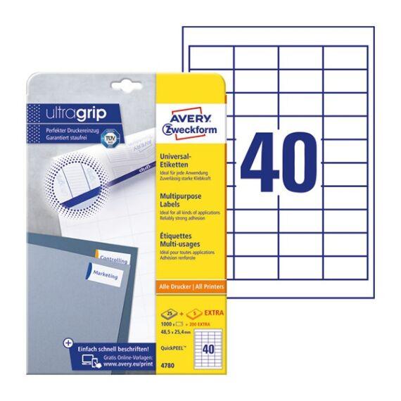 Etikett AVERY 4780 48,5x25,4mm univerzális fehér 1000 címke/doboz 30 ív/doboz