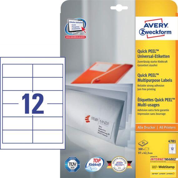 Etikett AVERY 4781 97x42,3mm univerzális fehér 360 címke/doboz 30 ív/doboz