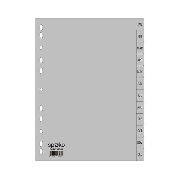 Regiszter SPOKO A/4 műanyag jan-dec