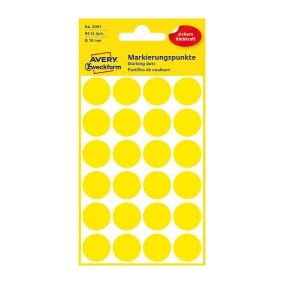 Etikett AVERY 3007 jelölőpont 18mm sárga 96 db/csomag