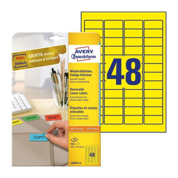 Etikett AVERY L6041-20 45,7x21,2mm univerzális sárga 960 címke/doboz 20 ív/doboz