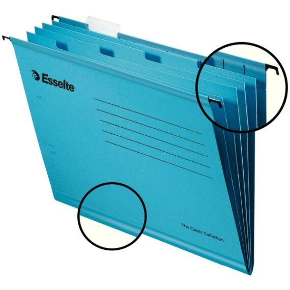 Függőmappa ESSELTE Classic A/4 elválasztólapokkal újrahasznosított karton kék 10 db/csomag