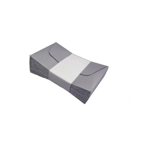 Névjegyboríték színes KASKAD enyvezett 70x105 mm 52 ezüst metál 120g 25 db/csomag