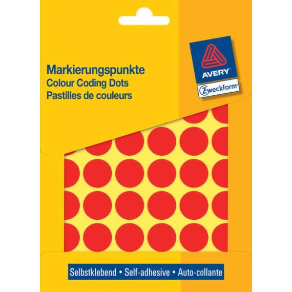 Etikett AVERY 3374 jelölőpont 18mm piros  96 db/csomag