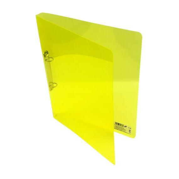 Gyűrűskönyv A/4 PP 20mm 2 gyűrű átlátszó sárga