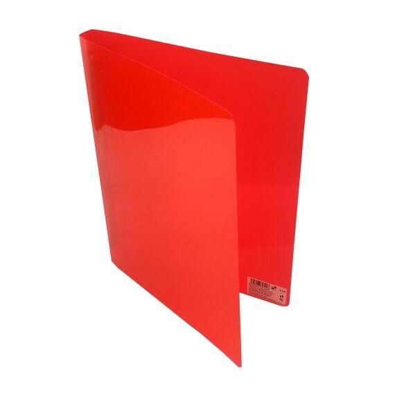 Gyűrűskönyv A/4 PP 20mm 4 gyűrű átlátszó piros