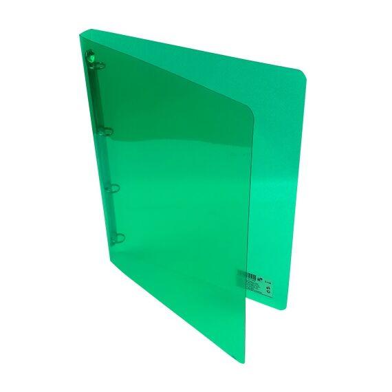 Gyűrűskönyv A/4 PP 20mm 4 gyűrű átlátszó zöld