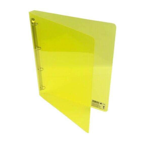 Gyűrűskönyv A/4 PP 20mm 4 gyűrű átlátszó sárga