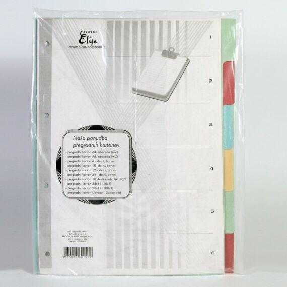 Regiszter A/4 karton színes 6 részes
